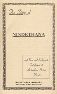 cover of Nindethana Nursery catalogue 1956